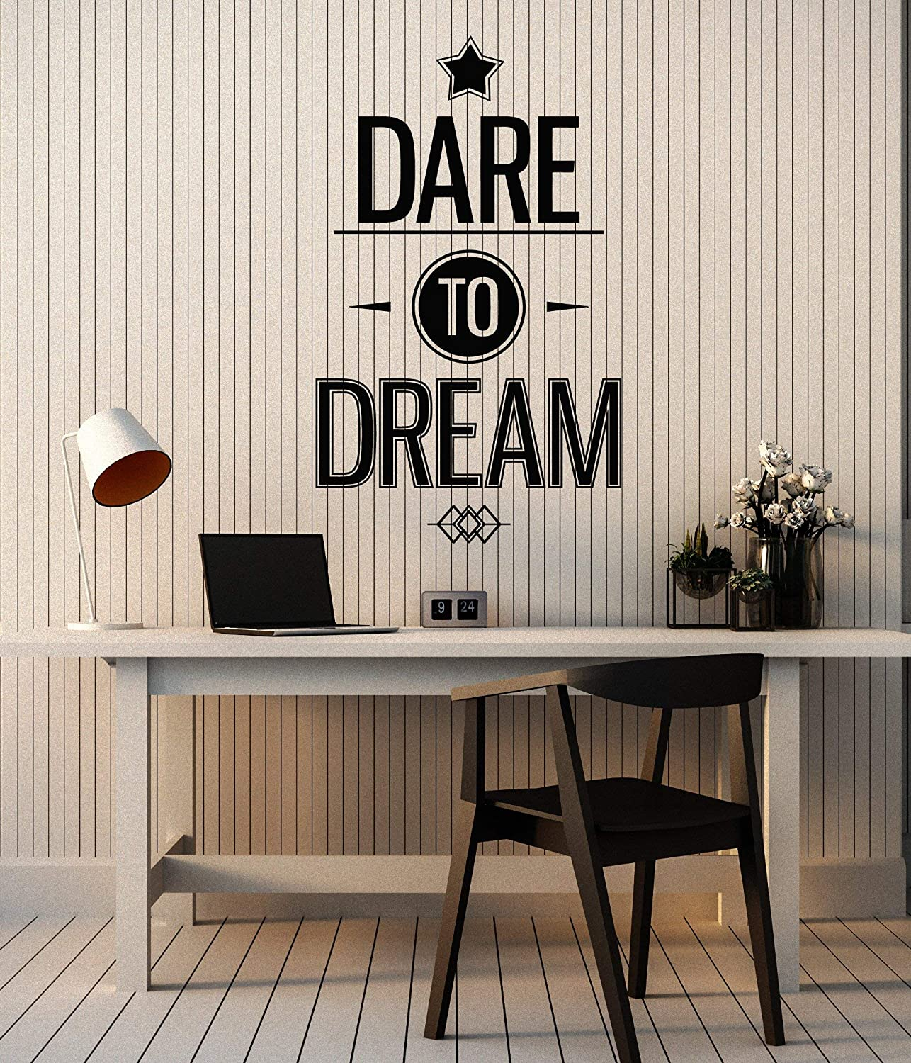 Vinyl Wall Decal Inspirational Phrase Words Dare to Dream Stickers Mural Large Decor (g5201) Black