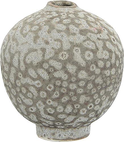 Creative Co-op Bubble Stoneware Attached Pedestal Base Distressed Matte Reactive Glaze Finish Vase