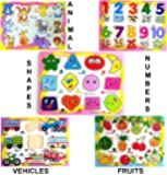MousePotato Set of 5 Wooden Learning Puzzle Boards Learn Shapes Numbers Animals Fruits Vehicles