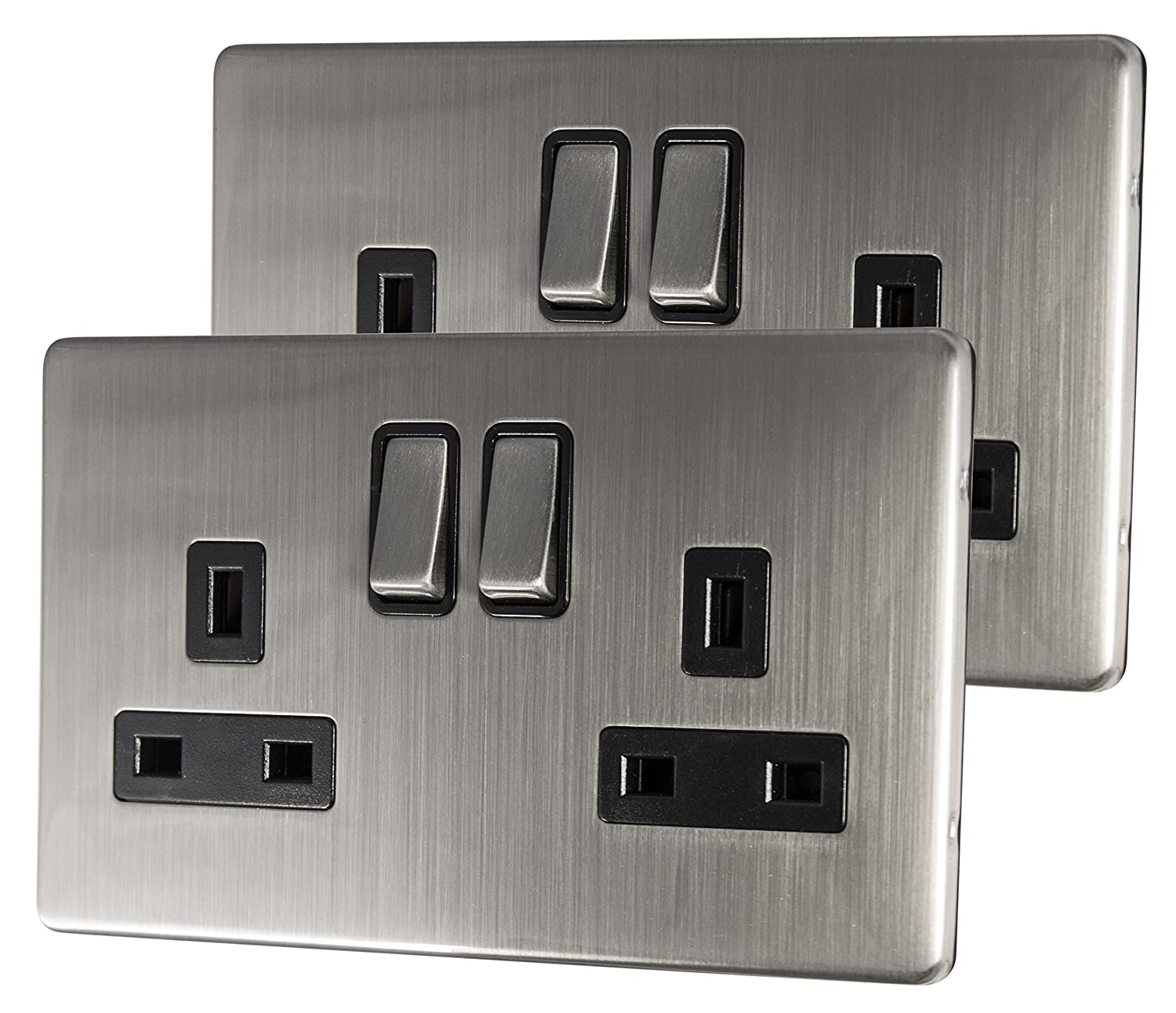 2 x Double Wall Socket Switched Gloss Brushed Chrome 2 Gang Screwless 13a Double Pole N410DME Long Life Lamp Company