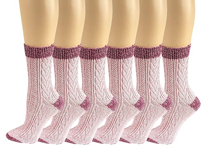 f345df6386c97 6 Pairs Women Cable Knit Winter Wool Thermal Boot Socks 9-11 (6 Pairs