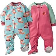 Gerber Baby Girls' 2-Pack Blanket Sleeper, Fox, 6-9 Months