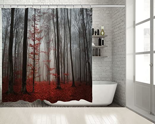 Positive Home Mystic Forest Trees Red Leaves Foggy Morning View Autumn Nature In Grey Decorating Art Extra Long Shower Curtain 70 Wide X 85 Long Amazon Co Uk Kitchen Home