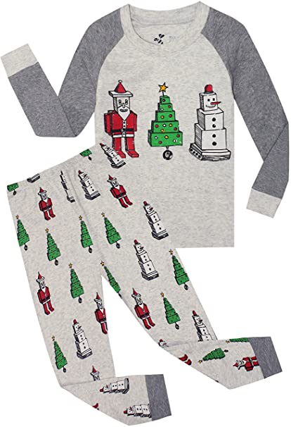 c6b3355157 Boys Christmas Pajamas Children Santa Claus PJs Gift Toddler 2 Pieces Pants Set  Sleepwear Size 5