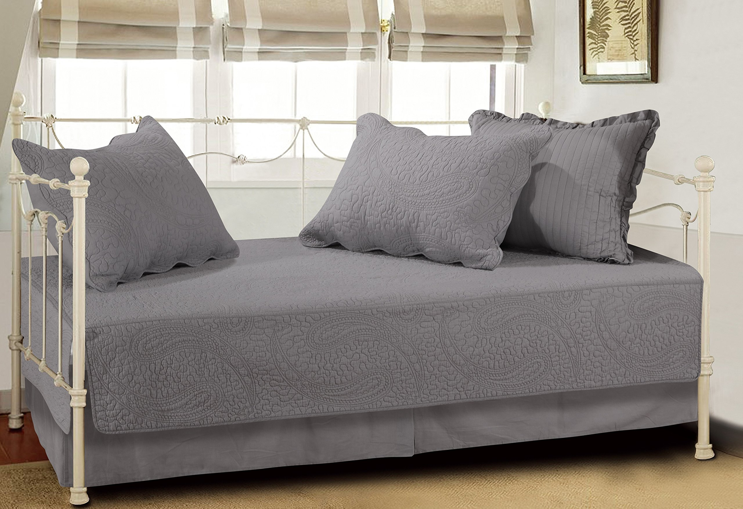 Greenland Home Paisley Dance Day Bed Quilt Set, Twin, Gray