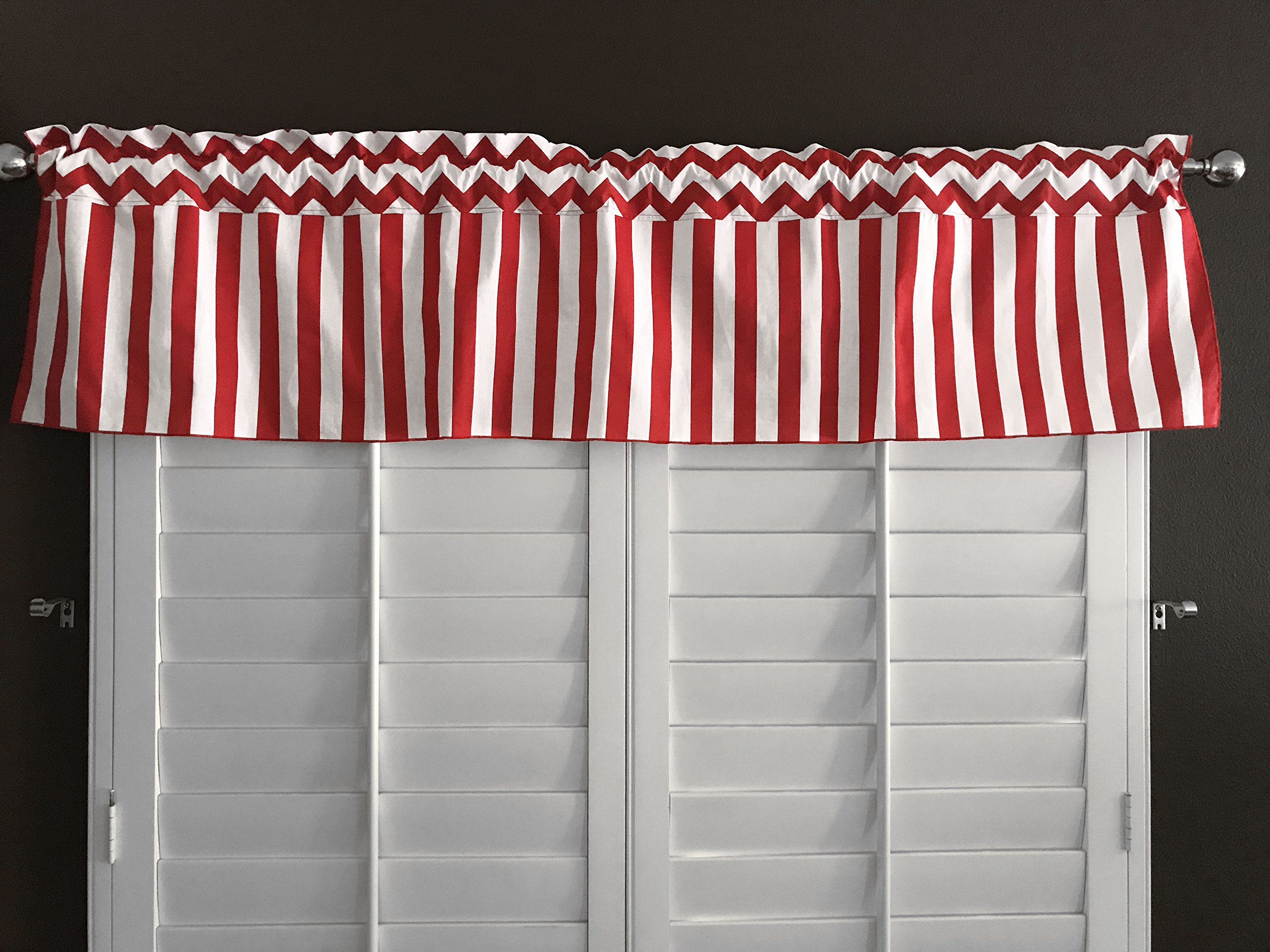 Zen Creative Designs Red Chevron Rain Cotton Stripes Window Valance 58 Inch Wide (28'' Tall) by Zen Creative Designs