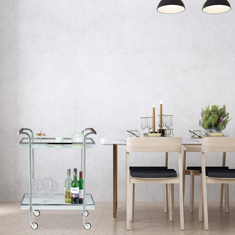 Chariot de Service Acier Table Roulante roulettes 2 /étages Argent Desserte de Cuisine Verre Opale Relaxdays 85x66x43 cm 85 x 66 x 43 cm
