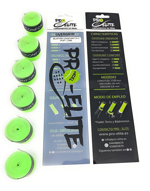 Blister 5+1 de overgrips Pro Elite Confort Perforados Verdes Flúor: Amazon.es: Deportes y aire libre