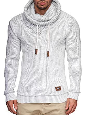 cd4e8050bbec Indicode Herren Keshawn Grobstrick Winter-Pullover Norweger Hoodie  Strickpullover Schalkragen Slim Fit