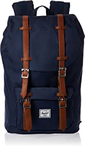 Herschel Supply Company Little America Mid-Volume Casual Daypack, 41-inch, 16 Liters, Navy/ Tan PU (10020-00007-OS)