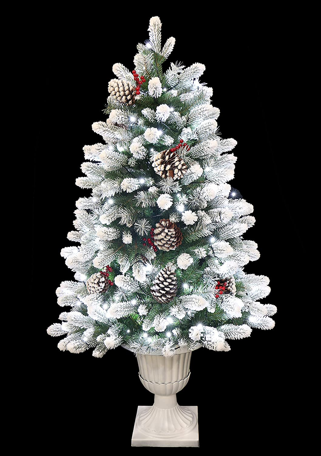 Holiday Stuff 4 Potted Frosted Winter Spruce Flocked Christmas Tree Pre Lit With Cool White Led Lights 4 Ft Home Kitchen Amazon Com