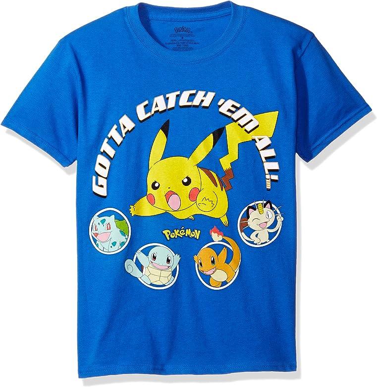 Pokemon Boys Pikachu Ball Youth Short-Sleeved Tee Tearaway Label