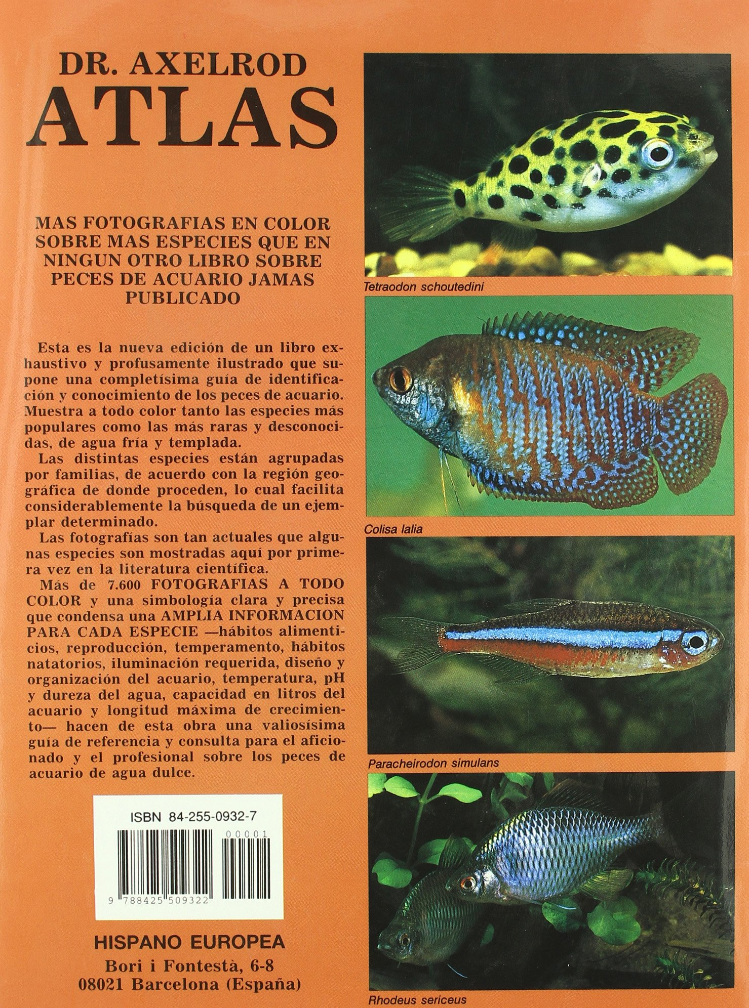 Atlas de peces de acuario de agua dulce / Fish Atlas of Freshwater Aquarium (Spanish Edition): Dr. Axelrod, Dr. Burgess: 9788425509322: Amazon.com: Books
