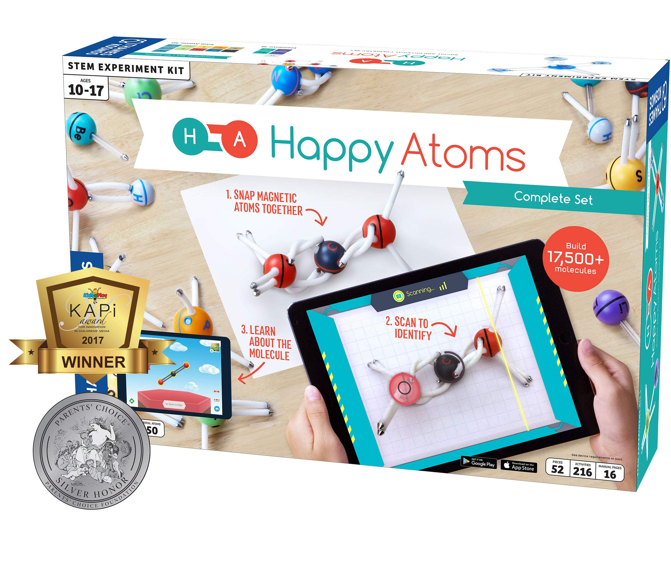Happy Atoms Magnetic Molecular Modeling Complete Set | 50 Atoms | Create 17, 593 Molecules | 216 Activities | Free Educational App iOS, Android, Kindle | Student & Teacher Tested | KAPi Award Winner by Thames & Kosmos