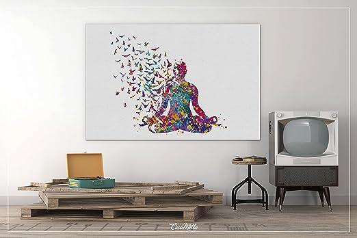 Watercolor Print Meditation Birds Yoga Print Yoga Sukhasana Pose Yogi Art