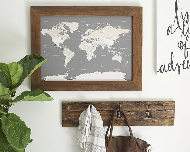 Amazoncom Small Walnut World Map Push Pin Travel Map Map - Small framed world map