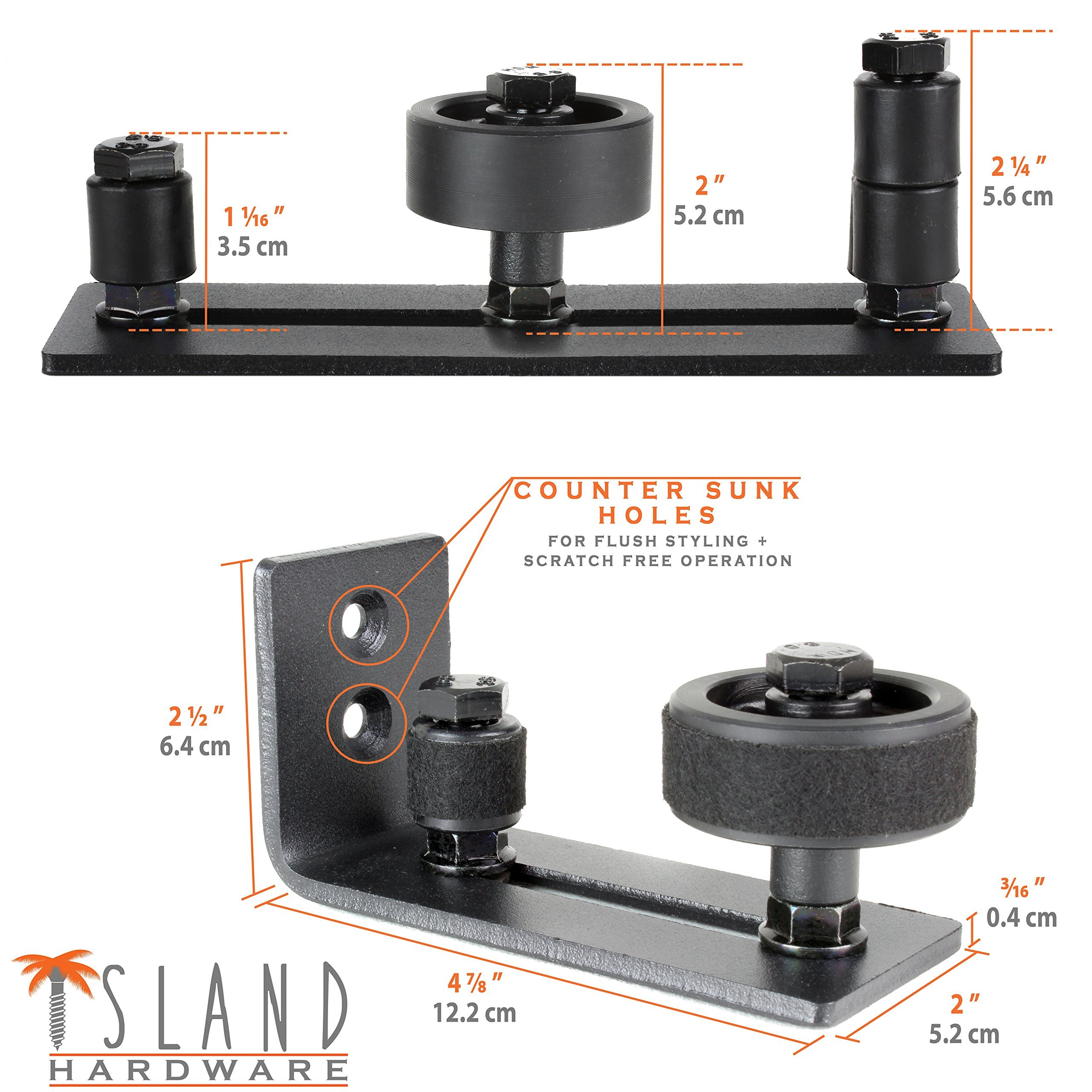 Ultimate Barn Door Floor Guide - Adjustable Sliding Channel & Stay Roller by Island Hardware with 13 Different Setups - Premium Black Finish, Wall Mounted & Flush to Floor, Fits All Barn Doors by Island Hardware (Image #7)