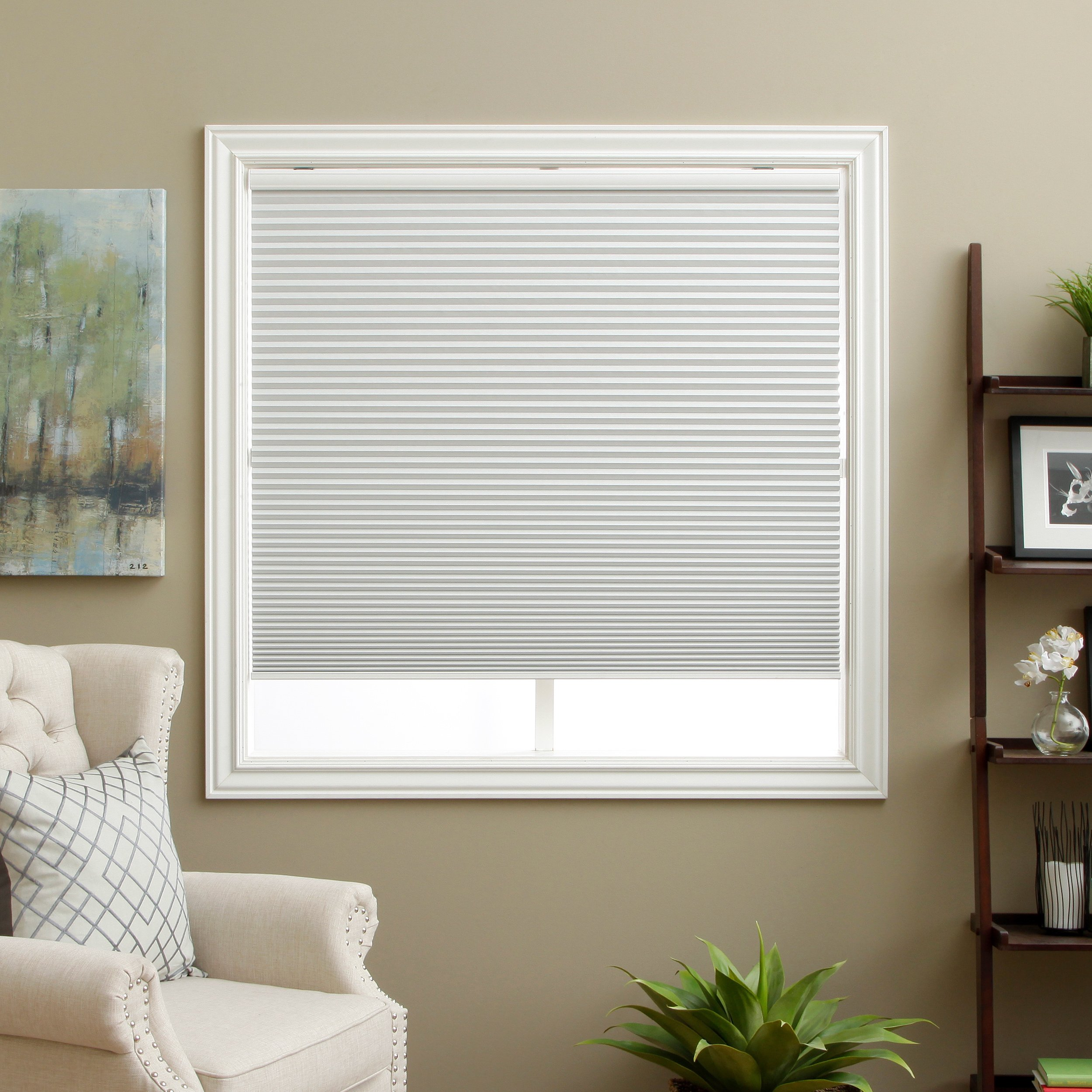 PH 1 Piece 40 W X 60 H Inches Off-White Blackout Blinds, Home Decor Light Filtering Cordless Cellular Shade, Includes Hardware, Horizontal Slat, Easy Match Window Treatments, Polyester Material