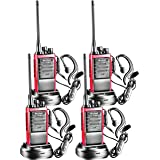 Arcshell Rechargeable Long Range Two-Way Radios with Earpiece 4 Pack Walkie Talkies UHF 400.025-469.975Mhz Li-ion Battery and