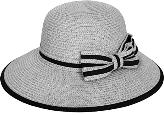 Aerusi Women Two Tone Wide Brim Summer Beach Panama Straw Bow Hat Floppy Sun Cap