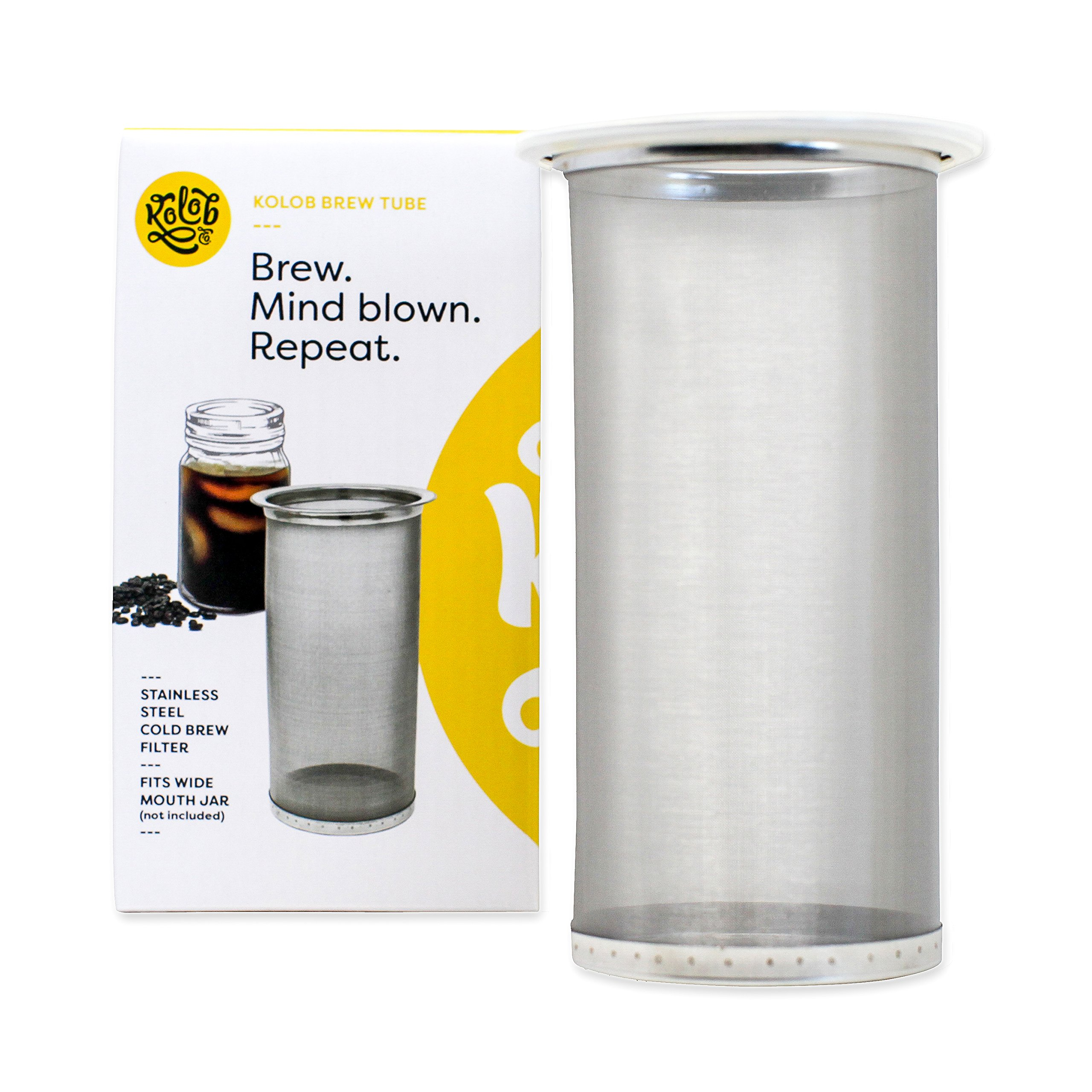 Brew Tube Cold Brew Coffee Maker - 1 or 2 Quart Stainless Steel Mesh Reusable Filter for Wide Mouth Glass Mason Jar by Kolob