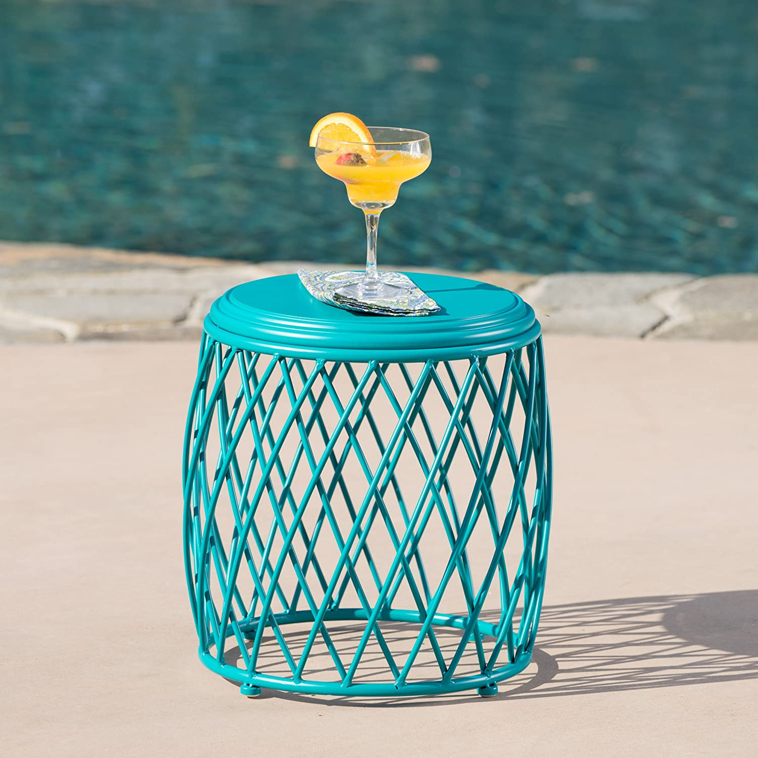 Christopher Knight Home 301949 Alamera Ckh Outdoor Accent Tables, Matte Teal