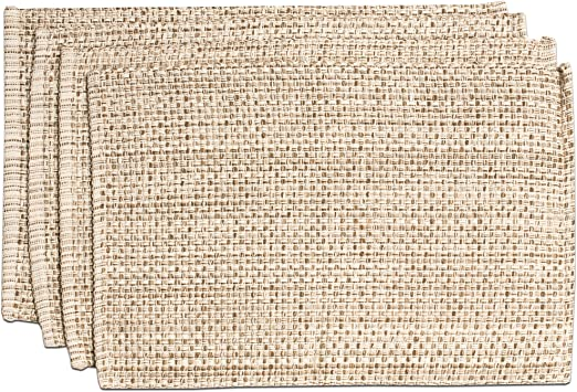 Sweet Home Collection Trends Two Tone 100 Cotton Woven Placemat 4 Pack 13 X 19 Eggshell Kitchen Dining Amazon Com