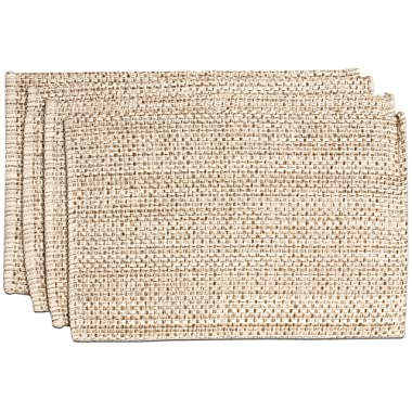 Sweet Home Collection Trends Two Tone 100% Cotton Woven Placemat (4 Pack), 13  x 19 , Eggshell