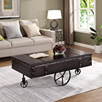 FirsTime and Co Black Faux Leather Coffee Table Deals