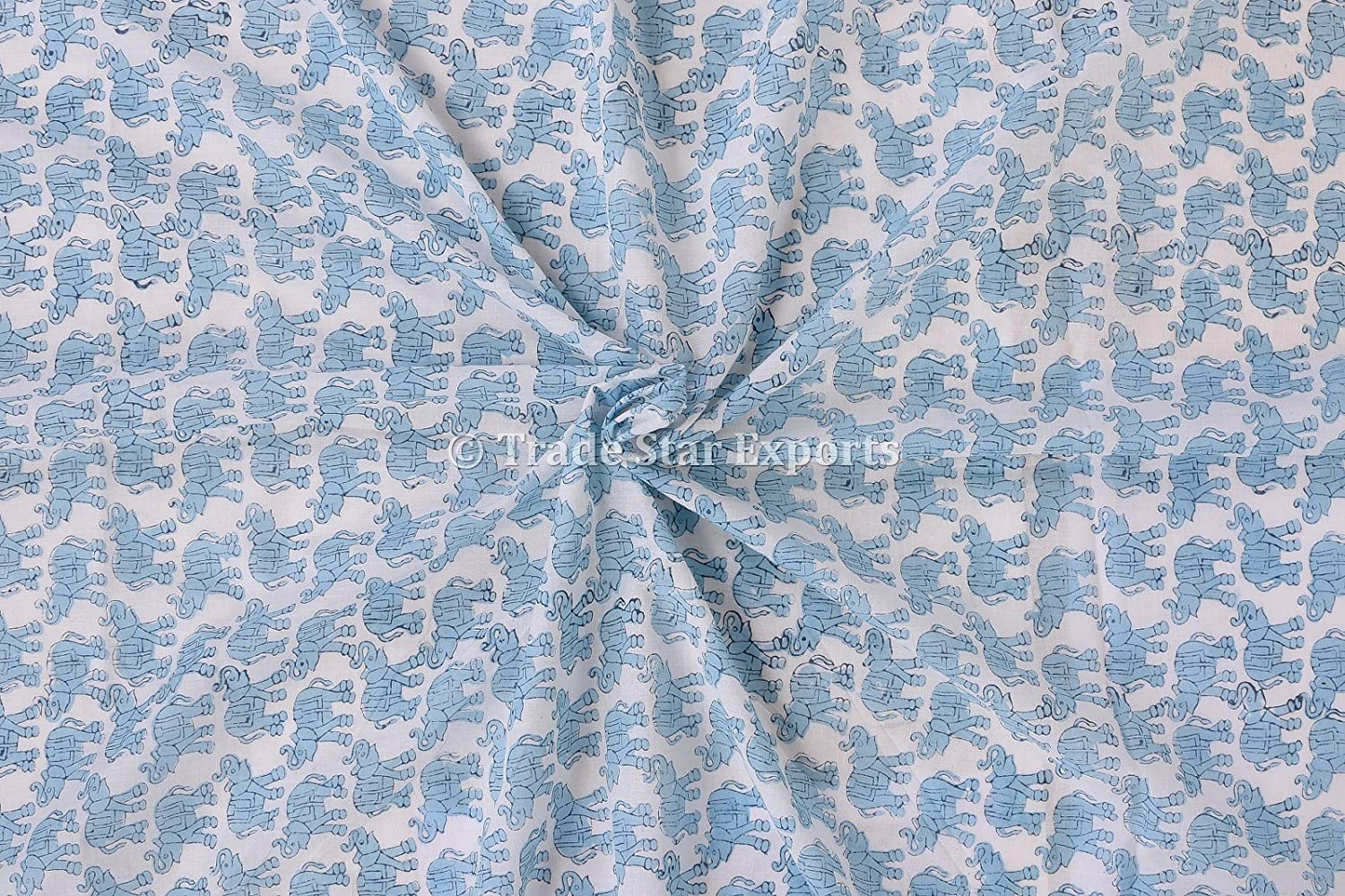 Indian Block Print Fabric By The Yard Sanganeri Cotton Voile Dress Making Fabric