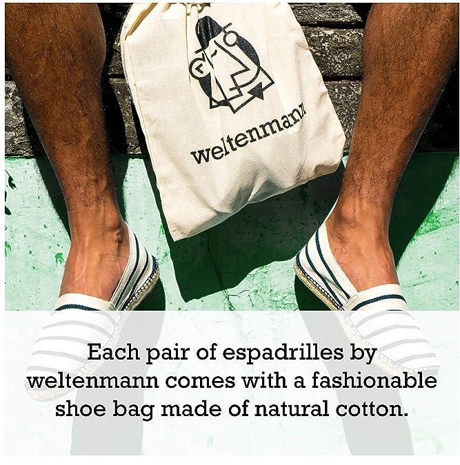 weltenmann|Blau-naturweisse gestreifte Herren Slip-on Espadrilles in Baumwolle 42: Amazon.es: Zapatos y complementos