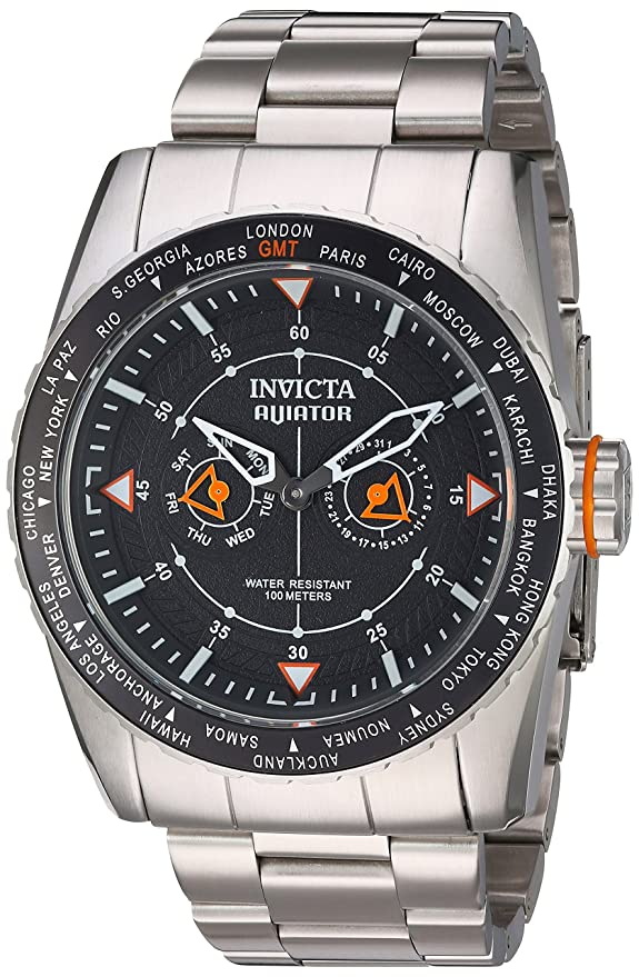 Amazon.com: Invicta Mens Aviator Quartz Watch with Stainless-Steel Strap, Silver, 28 (Model: 22984: Invicta: Watches