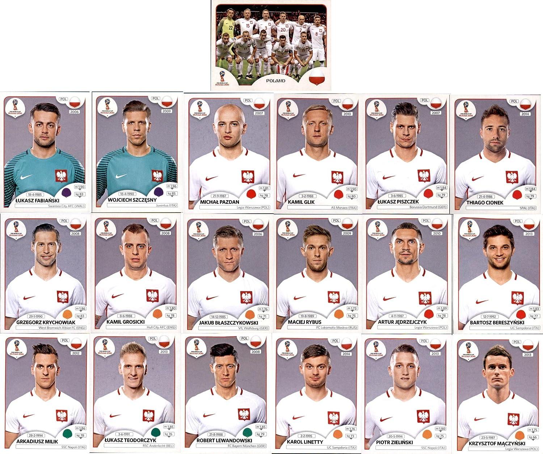 Sticker 593-611 Panini WM 2018 Russia Sticker Mannschaftspaket Polen