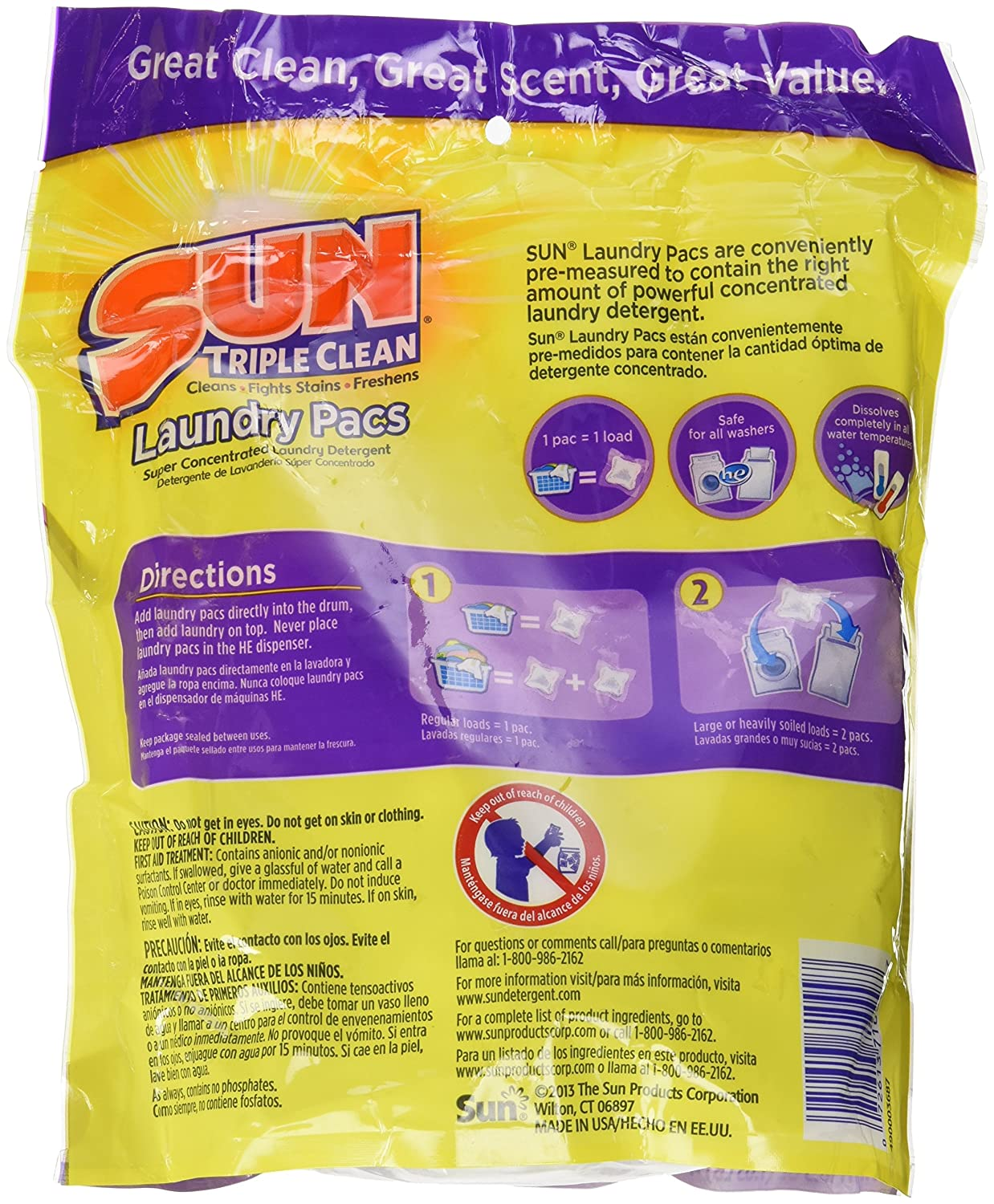 Amazon.com: SUN Triple Clean Laundry Pacs 24 Loads 16.5 Oz. (Pack of 2) 48 Loads Total: Health & Personal Care
