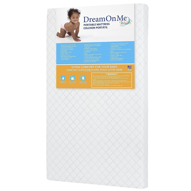 "Dream On Me 3/"" Extra Firm Portable Crib Mattress White Free Shipping"