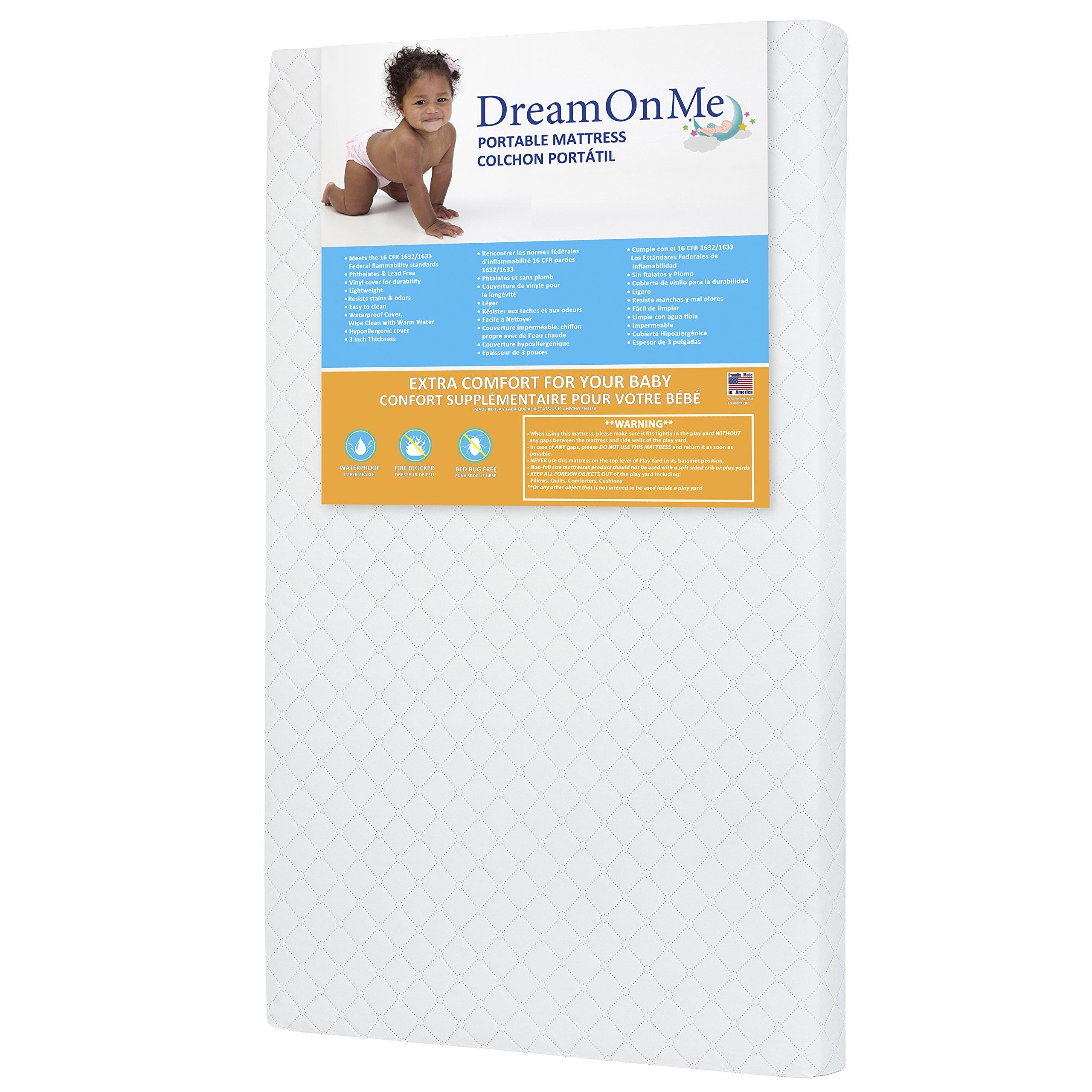 Dream On Me 3 Mini/Portable Crib Mattress, White by Dream On Me