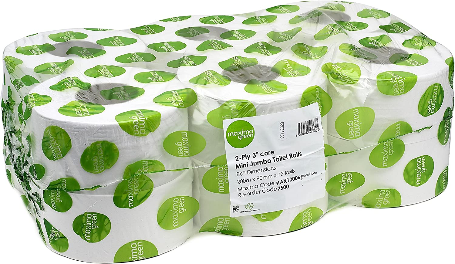 MAXIMA GREEN MINI JUMBO ROLLS 2-PLY 200M WHITE PACK OF 12 ROLLS