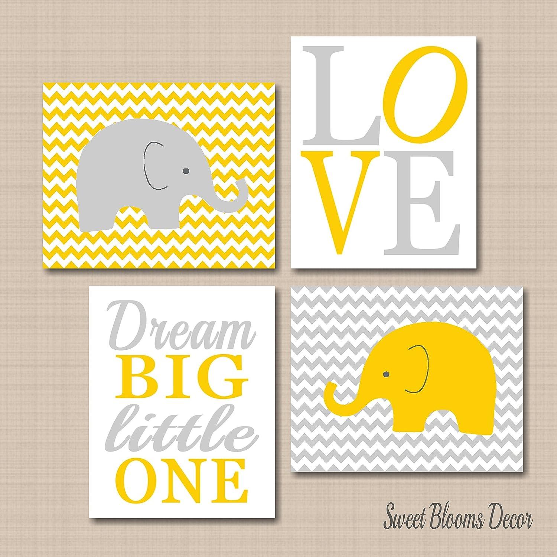 Amazon.com: Elephant Nursery Décor,Elephant Nursery Wall Art,Yellow ...