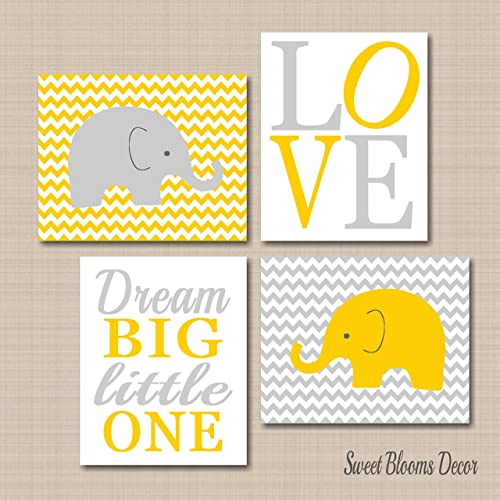 Amazon.com: Elephant Nursery Décor,Elephant Nursery Wall Art,Yellow ...