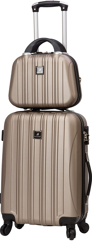 Valise cabine rigide 4 roues et Vanity case assorti-Madisson (Beige)