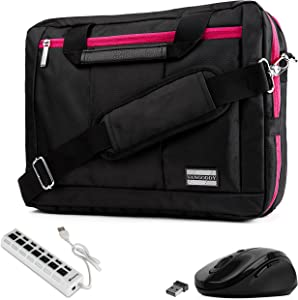 """Magenta Trim Convertible Laptop Bag, USB Hub, Mouse for Dell Inspiron, Latitude, XPS, ChromeBook 11"""" to 13.3 inch"""