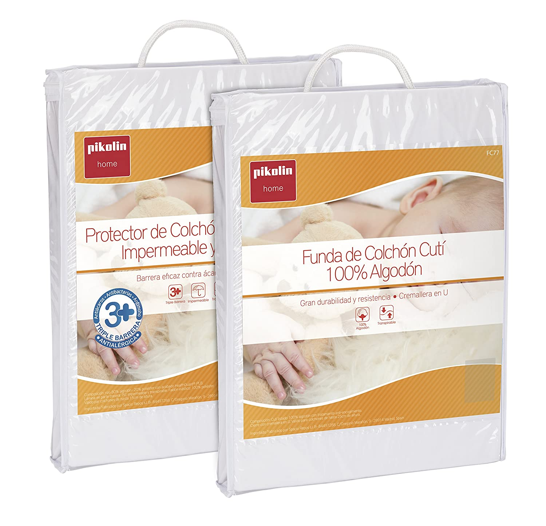 ... Set de protección 360 º antialérgico para cuna con sábana impermeable 100% algodón y funda de colchón de cutí, 60 x 120 cm: Amazon.es: Hogar