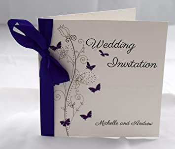Butterfly Wedding Invitations Personalised With Ribbon Available In Many Colours Purple Satin Packs Of 10