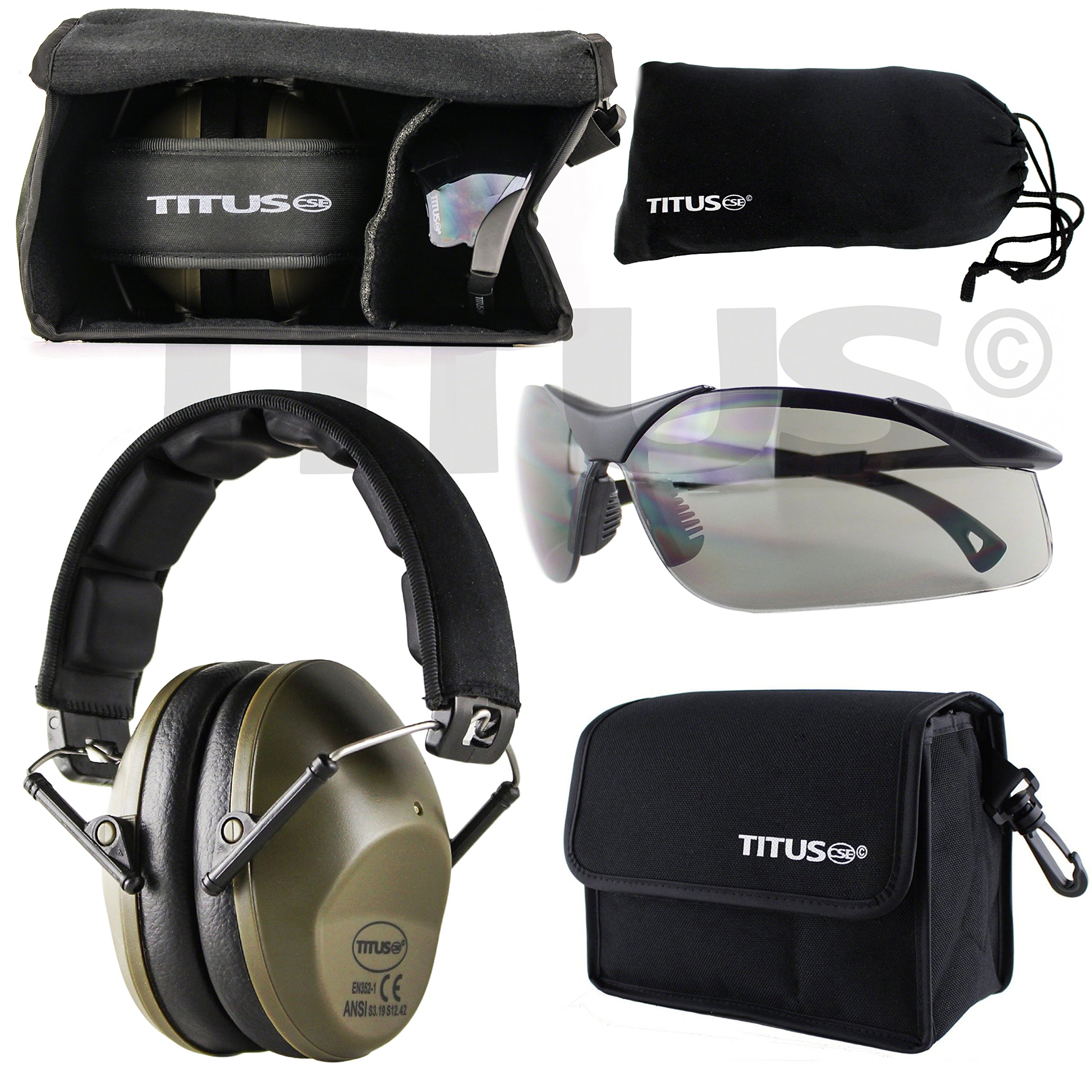Titus TOP Slim-Line Safety Glasses and Earmuff Combos (Olive, G28 Smoke EMT Professional Glasses) by Titus