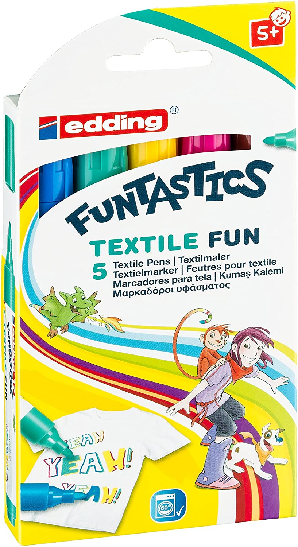Edding 4-17-5 - Pennarelli per tessuti Funtastics, punta 2-5 mm, confezione da 5 pezzi, colori assortiti edding Vertrieb GmbH