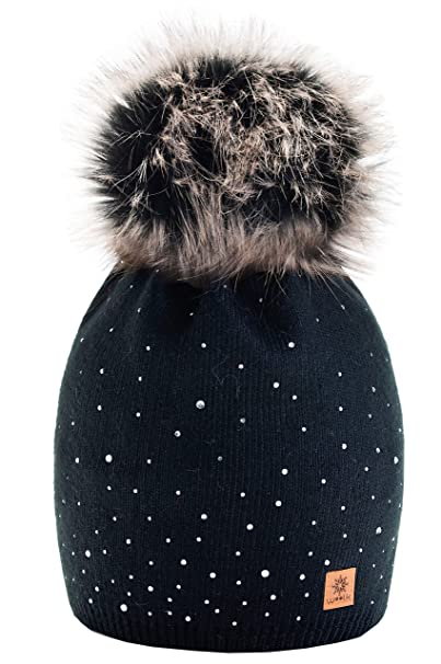 824c575ccc4 Women Ladies Winter Beanie Hat Wool Knitted with Small Crystals Large Pom  Pom Cap Ski Snowboard Hats (Black) MFAZ Morefaz Ltd  Amazon.co.uk  Clothing