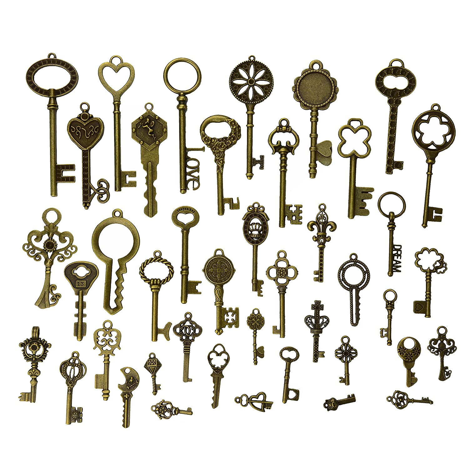 21pcs Jewelry Making Charms Craft keys Decorative Key Skeleton Bronze Key in Antique Bronze Style for Wedding Graduation Christmas(21pcs) Makhry