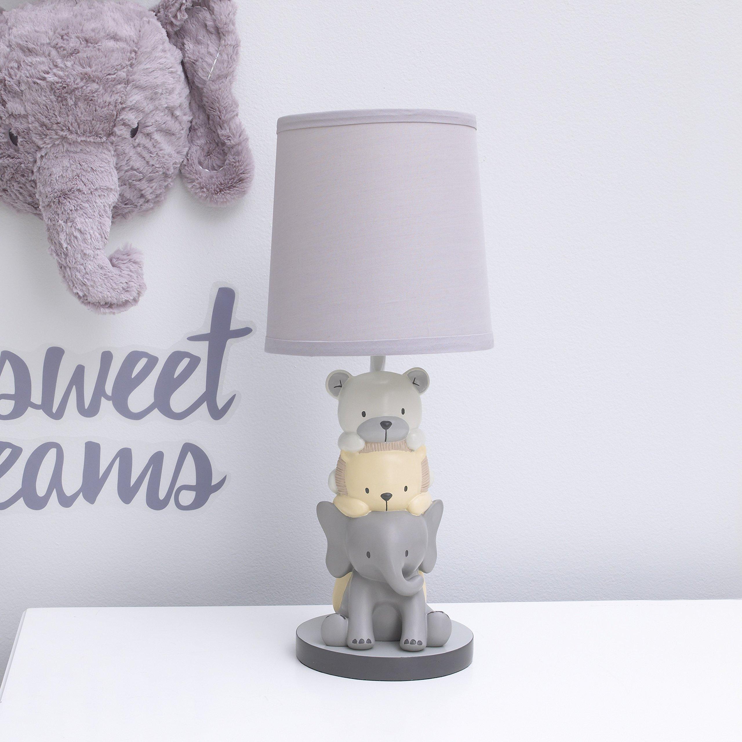 NoJo Play Day Pals Elephant/Animal Lamp Base and Shade, Grey, Cream, Charcoal