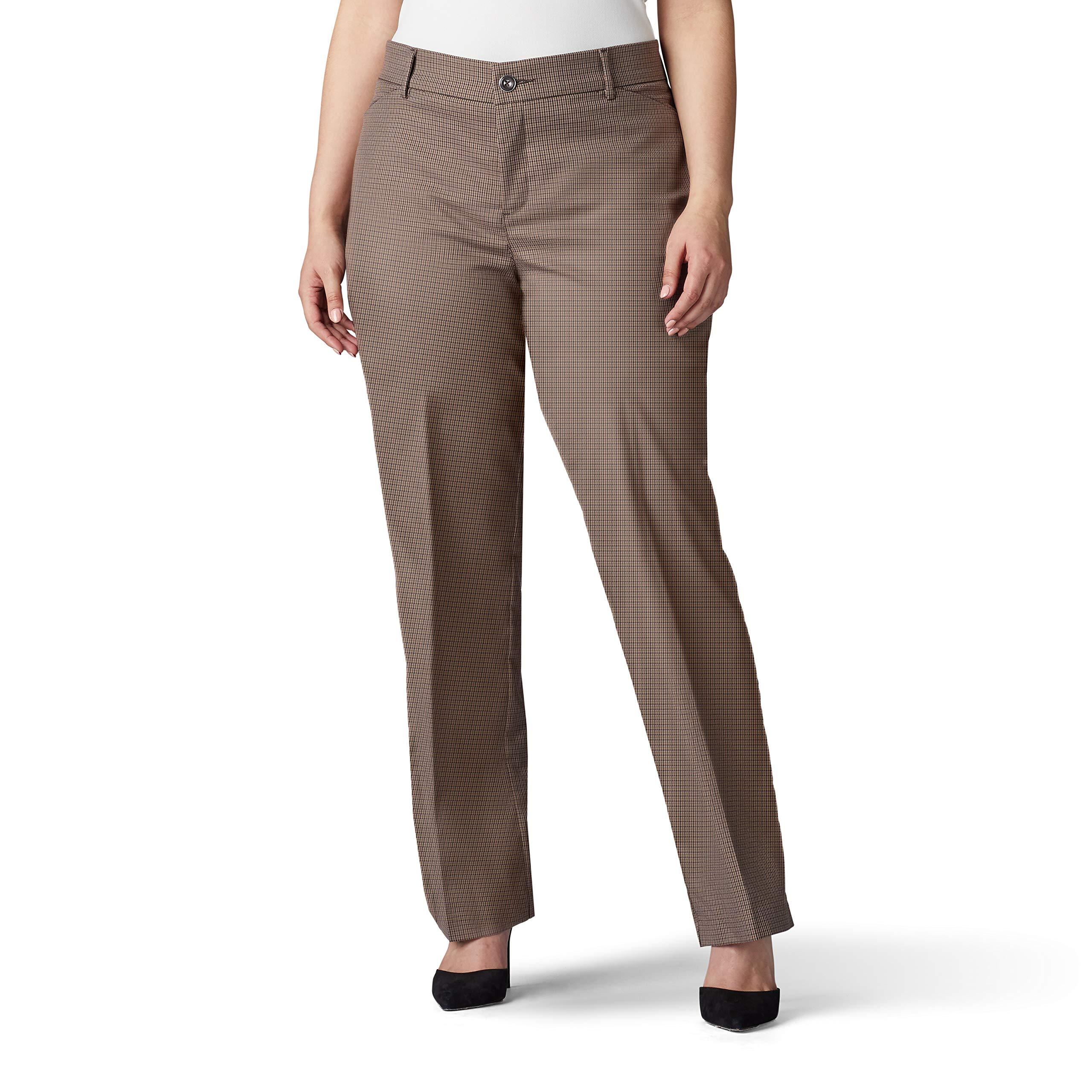 LEE Women's Plus Size Flex Motion Regular Fit Trouser Pant, deep Breen Austin Check, 16W Petite by LEE