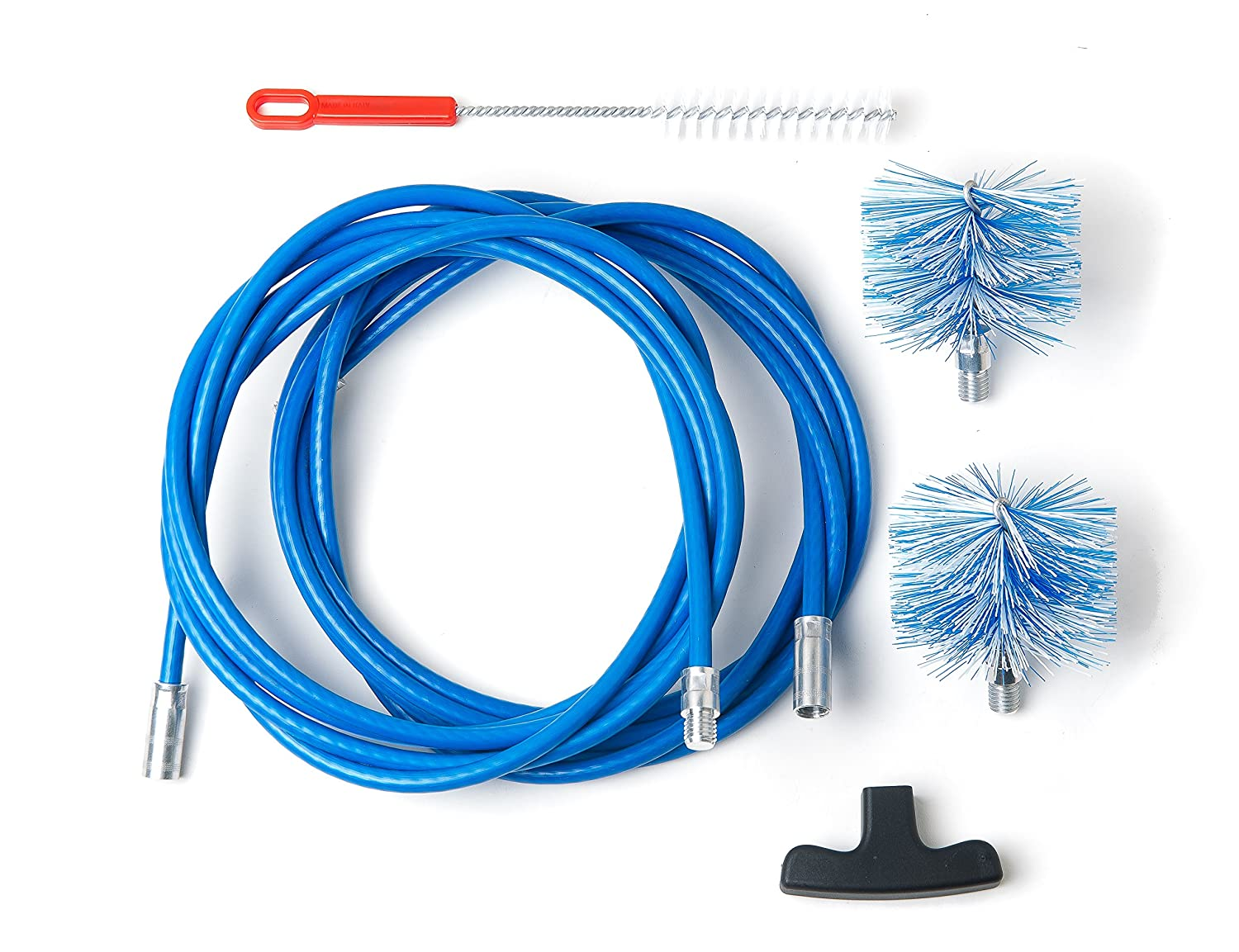 Cleaning kit for pellet stove - chimney sweeping kit - 9 metres - 2 tube brush 80mm and 100mm Baretto Spazzole